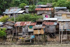Shanty homes in Philippines. Shanty wooden homes in Kalikud island, Philippines Royalty Free Stock Photo