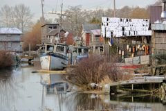 Shanty Marine Village. A small, narrow inlet where a collection of rough wooden houseboats are home to a fishing community stock photos