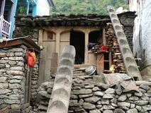 Shanty in Tilche - Manaslu trekking Nepal Stock Photos
