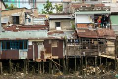 Shanty Wooden House In Saigon Royalty Free Stock Image