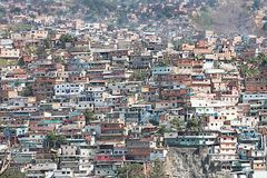 Shantytown or Slum built along hillside in Caracas. Shantytown, slum, built along hillside city of Caracas, Caracas, Capital District, Venezuela, South America stock photography