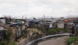 Shantytown in South Africa Townships. Cluster of shacks in the townships near Cape Town South Africa stock image