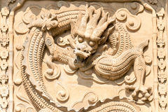 SHANXI, CHINA - Aug 23 2015: Relief at Emperor Shun Tomb Soenic stock image