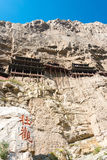 SHANXI, CHINA - de sept. el 18 de 2015: Hanging Temple (templo de Xuankong) A foto de archivo libre de regalías