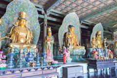 SHANXI, CHINA - 25 Sept. 2015: Buddastandbeelden bij Huayan-Tempel A Royalty-vrije Stock Afbeeldingen