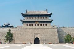 SHANXI, CHINA - 21 Sept. 2015: De Muur van de Datongstad een beroemde Histor Stock Foto's