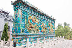 SHANXI, CHINA - 17 Sept. 2015: Dragon Screen bij Guanyintang-Temperaturen stock afbeelding