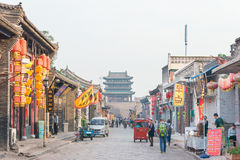 SHANXI, CHINA - Sept 03 2015: Morning View of Ancient City of Pi Stock Photo