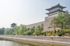SHANXI, CHINA - Sept 21 2015: Parede da cidade de Datong um Histor famoso imagem de stock