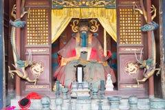 SHANXI, CHINA - Sept 05 2015: Statue at Jingsheng Confucian Temp Royalty Free Stock Images