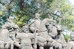 SHANXI, CHINA -  Sept 27 2015: Statues of Li Shimin and Generals Royalty Free Stock Photos