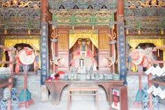 SHANXI, CHINE - septembre 05 2015 : Statues au confucianiste Tem de Jingsheng Photos libres de droits