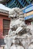 SHANXI, CINA - il 03 settembre 2015: Lion Statue al tempio di Shuanglin (ONU fotografie stock