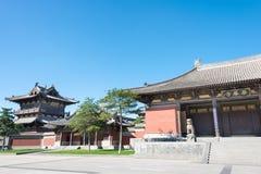 SHANXI, CINA - il 25 settembre 2015: Tempio di Huayan uno storico famoso immagine stock