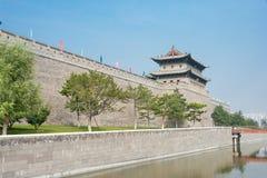 SHANXI KINA - Sept 21 2015: Datong stadsvägg en berömda Histor Arkivfoton