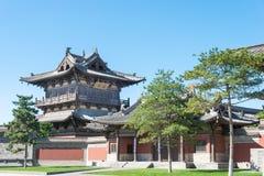 SHANXI KINA - Sept 25 2015: Huayan tempel ett berömt historiskt royaltyfri bild