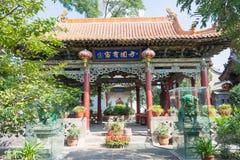 SHANXI KINA - Sept 07 2015: Wubian tempel ett berömt historiskt Arkivbilder