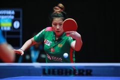 SHAO Jieni from Portugal backhand Stock Image