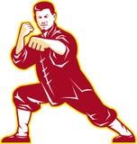 Shaolin Kung Fu Martial Arts Master retro stock de ilustración