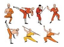 Shaolin michaelita ćwiczy kung fu sztuk dziewczyn silueta wojenny wektor Wektorowy ilustracja set, odizolowywający na bielu ilustracji