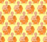 Shaolin monk seamless pattern. Tibetan monk meditating ornament. Yoga Buddhist Tibet texture. Novice of monastery in orange dress. Rosary prayer. Recluse Stock Images