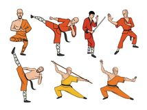 Shaolin monks practicing kung fu. Martial art. Vector illustration set, isolated on white. Shaolin monks practicing kung fu. Martial art. Vector illustration Stock Photography