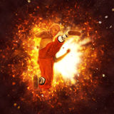 Shaolin Powerful Flying Kick Illustration Stock Images