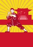 Shaolin Retro Kung Fu Martial Arts Master royaltyfri illustrationer