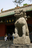 The shaolin temple front entrance stone lion Royalty Free Stock Photos