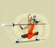 Shaolin warrior monk vector illustration Royalty Free Stock Images
