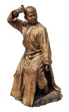 Shaolin warriors monk bronze statue. Shaolin warriors monk in Chinese Temple Viharn Sien, Chonburi, Thailand. Bronze statue isolated on white with clipping path royalty free stock photos