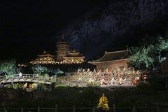 Shaolin Zen Music Ritual openlucht licht toont en de vechtsportenprestaties in China Stock Fotografie