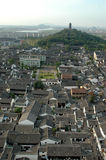 Shaoxing - watertown, general view. China, Zhejiang province, old town - Shaoxing with historical CanQiao street. Residential area is surrouded by water canals Royalty Free Stock Photos