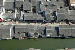 Shaoxing - watertown view from bird's eye view. China, Zhejiang province, old town - Shaoxing with historical CanQiao street. Residential area is surrouded by Stock Image