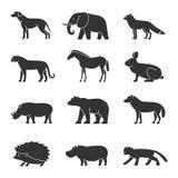 Shape animals set. Domestic and wild. Royalty Free Stock Photo