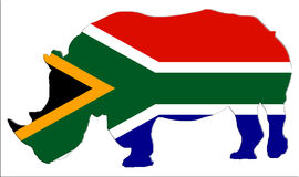 Shape av av Endangered noshörningen i Sydafrika med söder - afrikansk flagga Royaltyfri Fotografi
