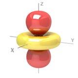 Shape av den atom- orbitalen för 3D M-0 på vit bakgrund Availabl Arkivfoto