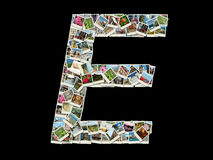 Shape av e-bokstaven som göras som collage av loppfoto arkivbilder