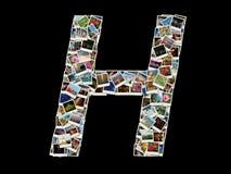 Shape av H-bokstaven som göras som collage av loppfoto Arkivfoton
