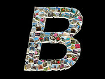 Shape of B letter (latin alphabet ) made like travel photo collage Royalty Free Stock Images