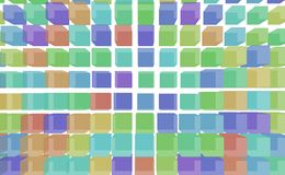 Shape background pattern, good for graphic design. Geometric, artistic, digital & grid. Colored square or rectangle 3D pattern for design wallpaper, texture Royalty Free Stock Image