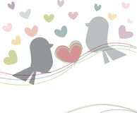Shape bird and colorful heart pattern on white background Stock Photography