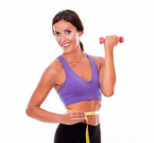 In shape brunette woman lifting weight. In shape woman lifting weight, looking at camera and smiling, while measuring her waist and wearing violet and black Royalty Free Stock Photography