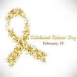 Shape of cancer ribbon from golden glitter Royalty Free Stock Photo