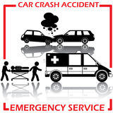 Shape car crash and emergency service Royalty Free Stock Images