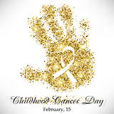 Shape of child's hand from golden glitter with ribbon inside Royalty Free Stock Photos