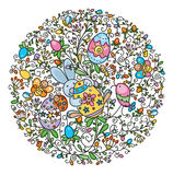 Shape of circle covered of fun pattern for Easter Stock Photos