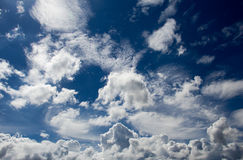 Shape of clouds. Many shapes of clouds in blue sky Royalty Free Stock Images