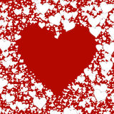 Shape from different white hearts on red backgrounds. Valentine' royalty free illustration
