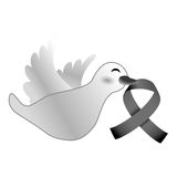 Shape dove with breast cancer symbol in the beak Royalty Free Stock Photography
